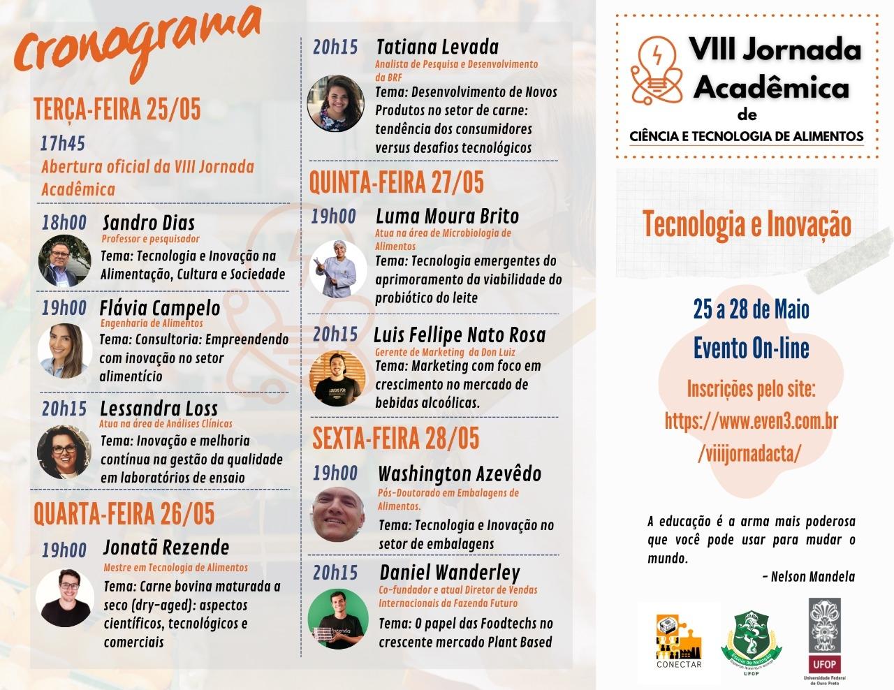 VIII Jornada Acadêmica de Ciência e Tecnologia de Alimentos